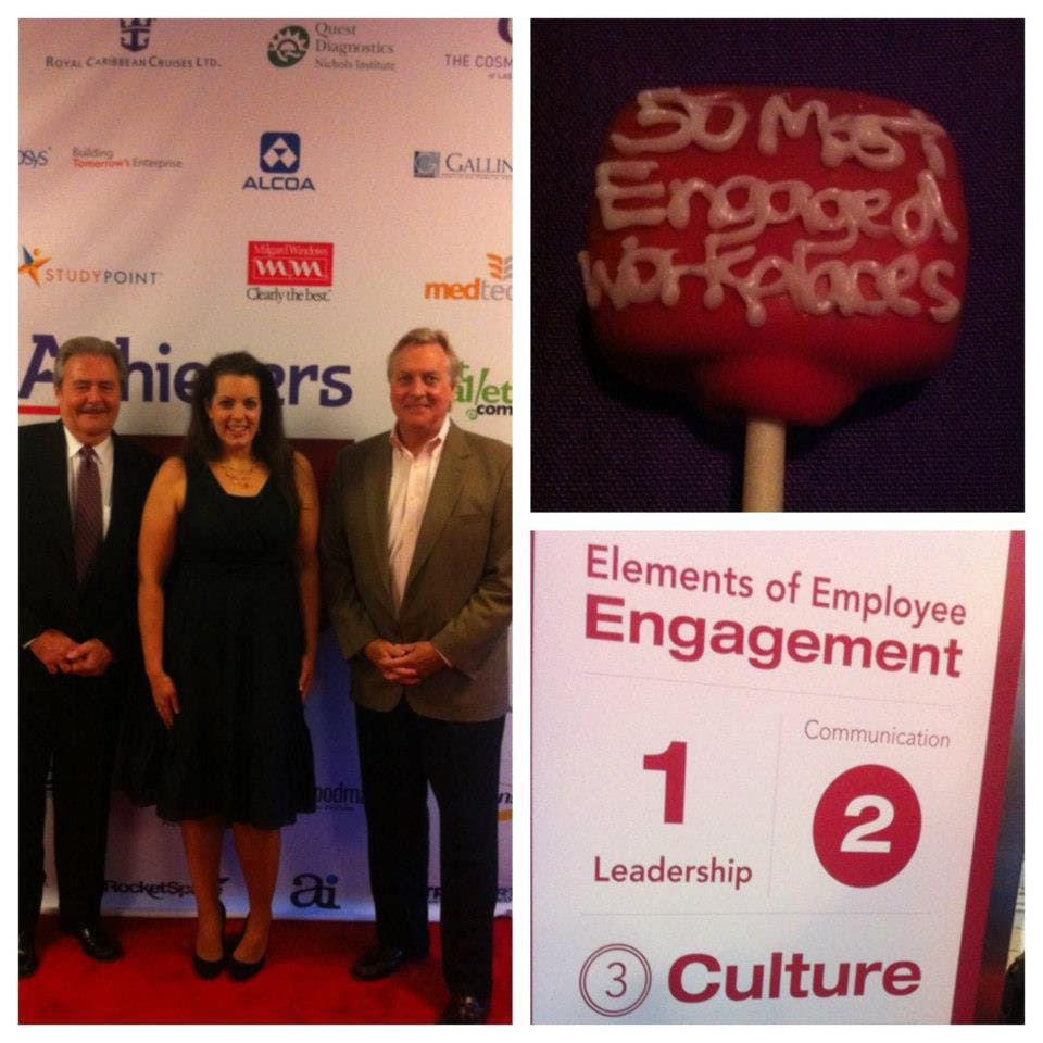 Valerie Uhlir accepting the 50 Most Engaged Workplaces in America