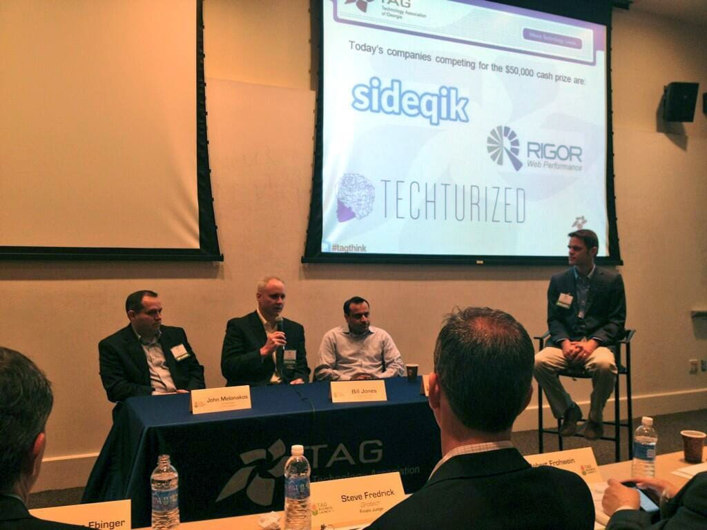 2013 TAG Business Launch Finals panel before pitches - Sideqik - Rigor - Techturized