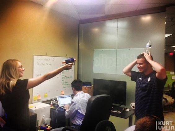 Team culture at Sideqik - Katie Ham, Kurt Uhlir, and Dean Papastrat at office at Atlanta Tech Village.