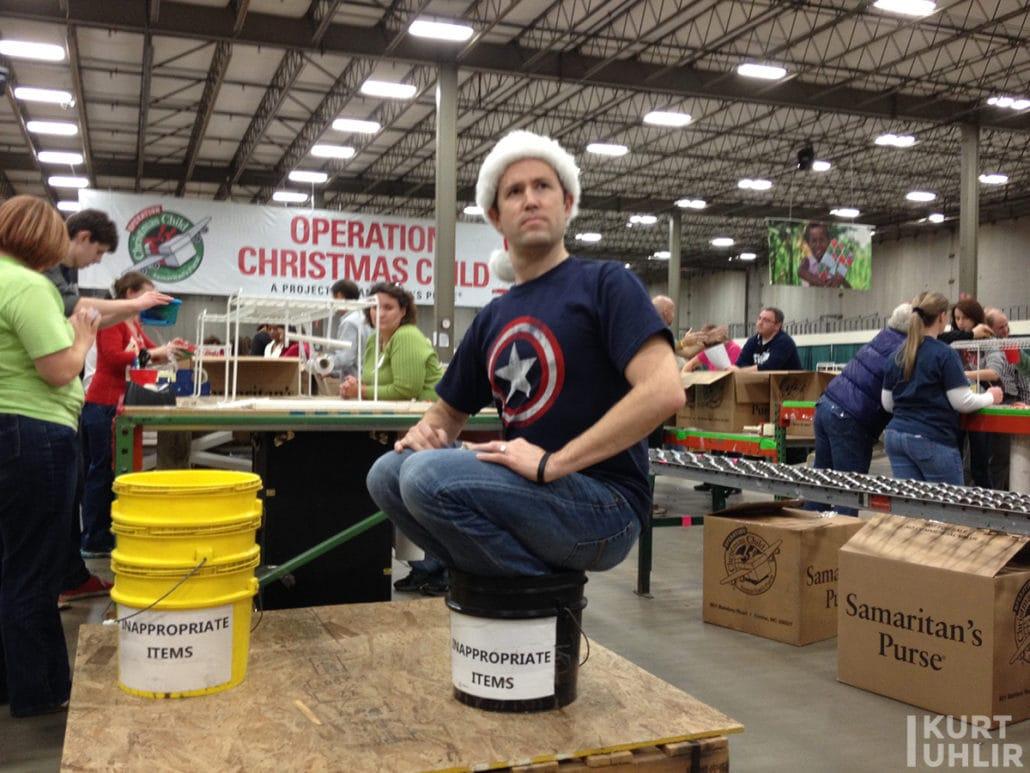 Kurt Uhlir having fun serving at Operation Christmas Child - Samaritan's Purse