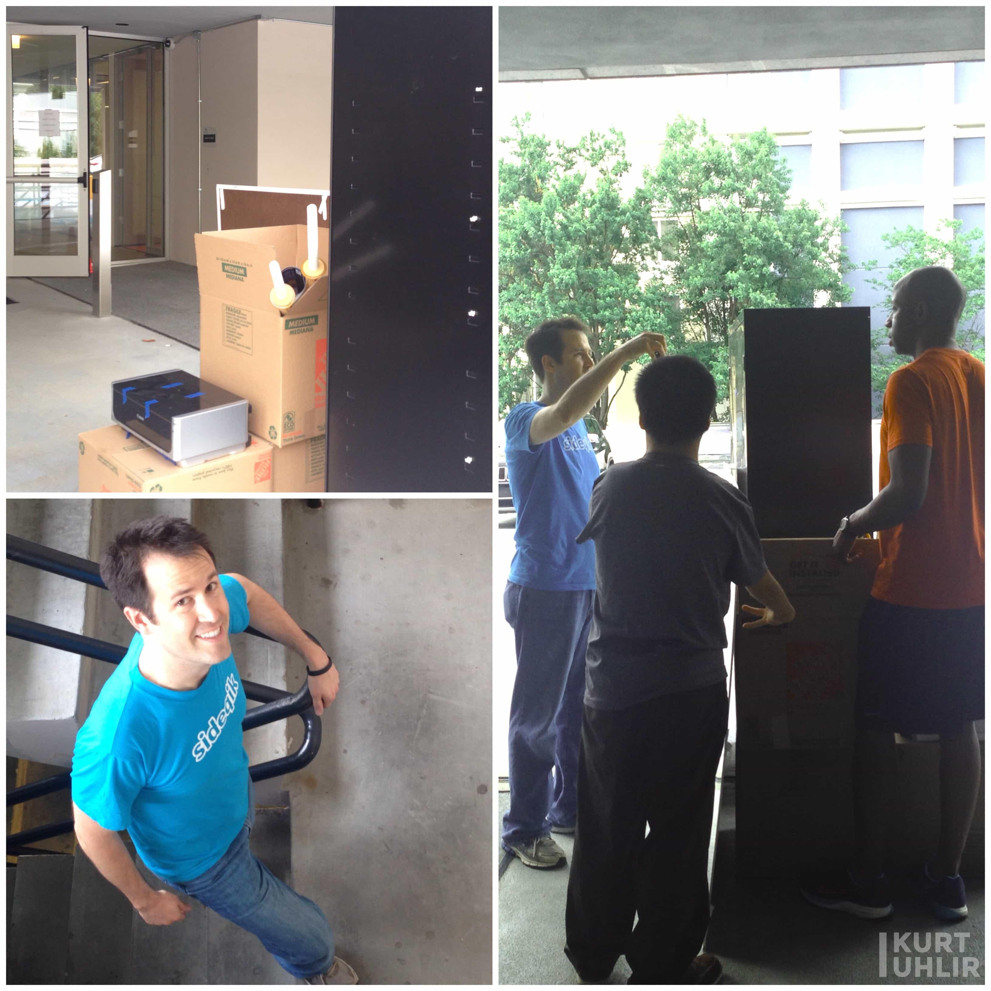 "Sideqik - moving out of offices at Atlanta Tech Village. Kurt Uhlir, Son ""John"" Tran, and Tremain McGlown"