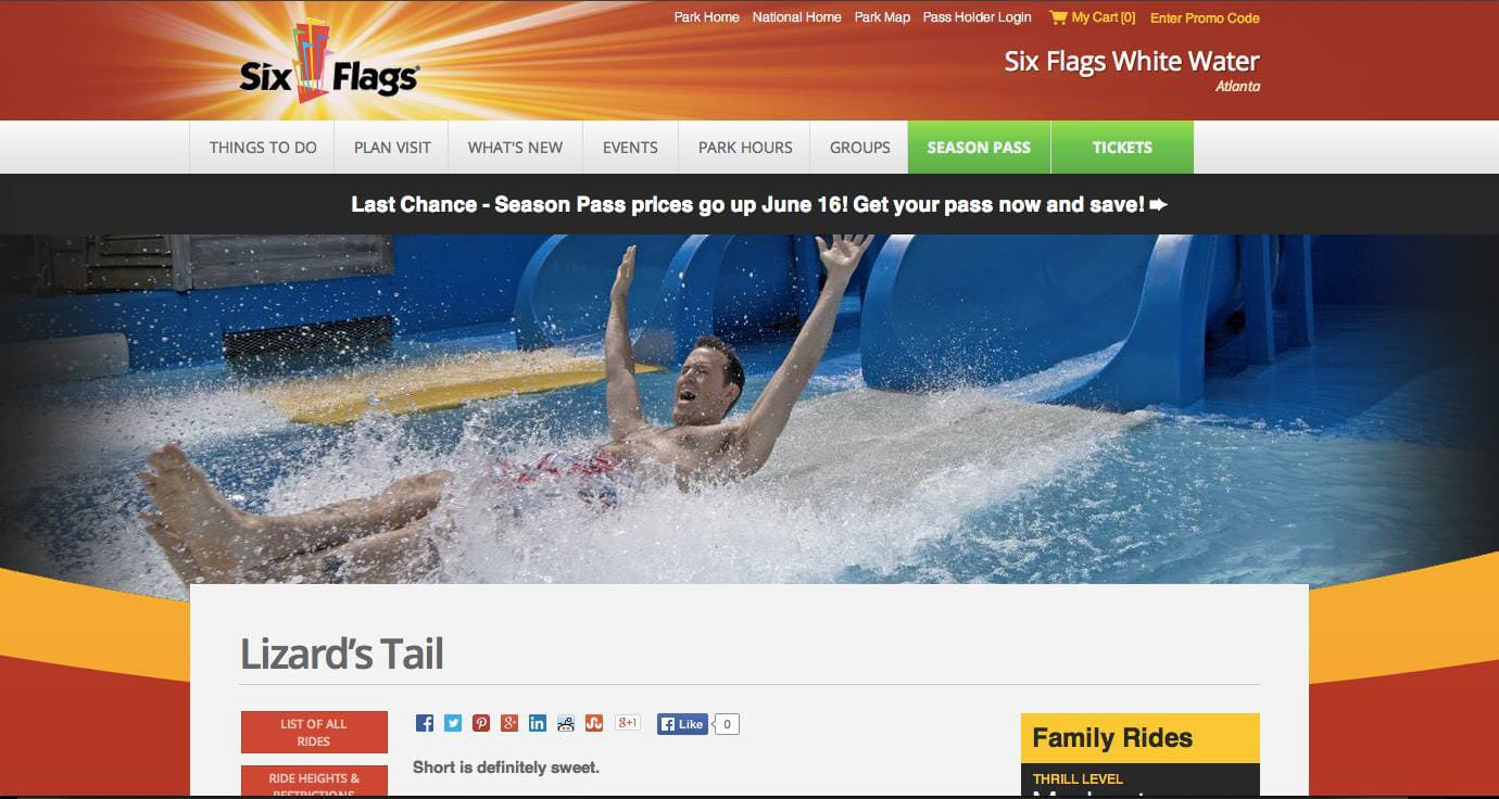 Kurt Uhlir as model for Six Flags White Water print and web - Lizard's Tail