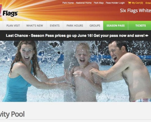 Kurt Uhlir as model for Six Flags White Water print and web - Activity Pool
