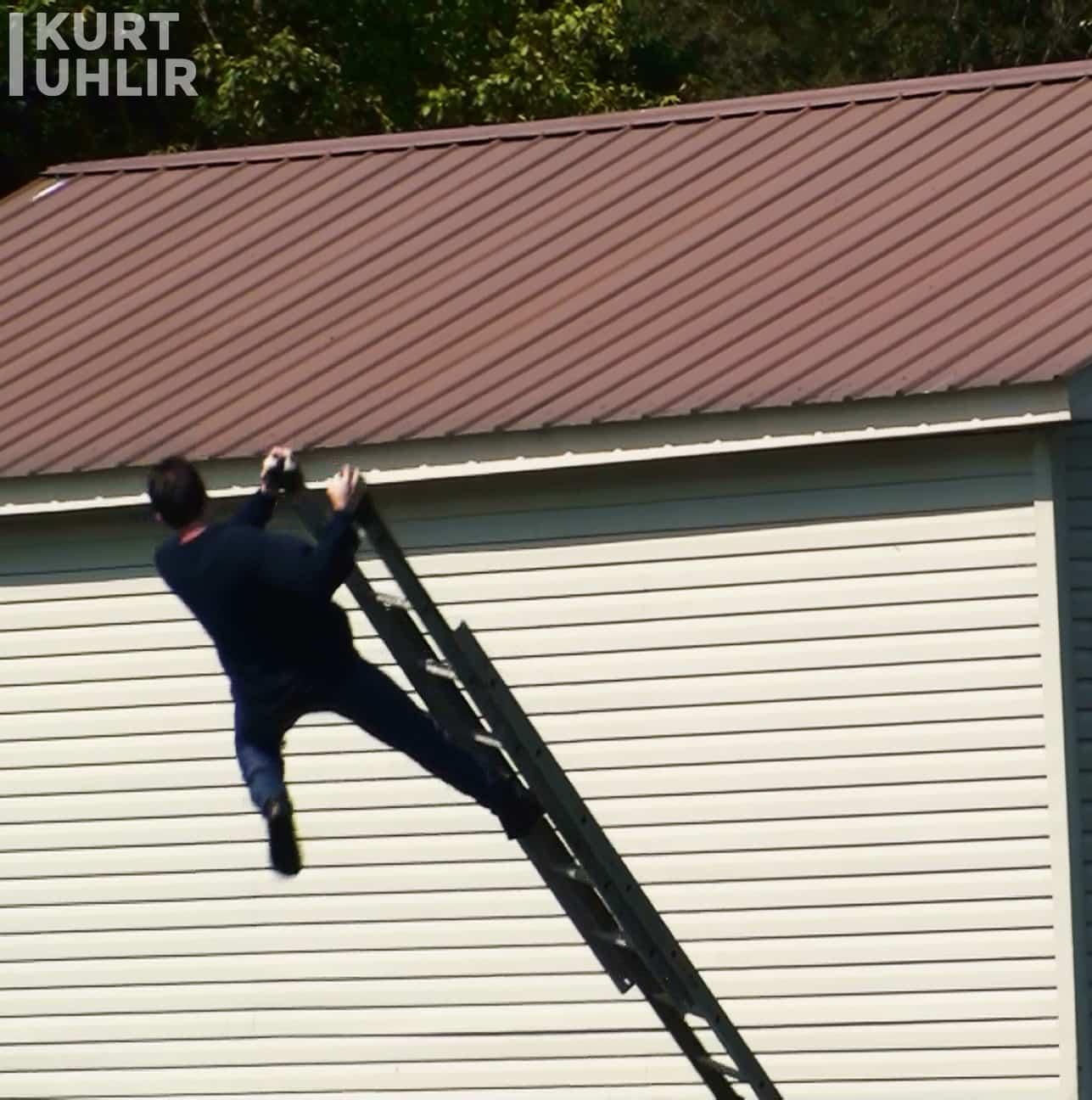 Stuntman Kurt Uhlir falling off a ladder