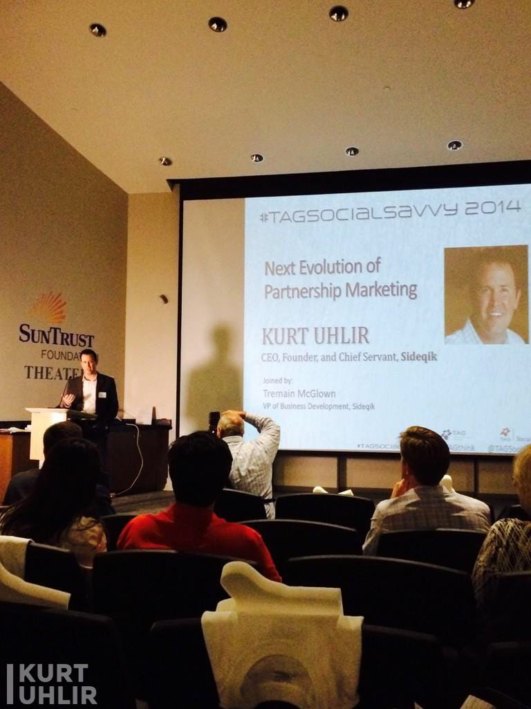Kurt Uhlir, CEO, Founder and Chief Servant, accepting an award for Sideqik on how influencer marketing is the next evolution of partnership marketing.