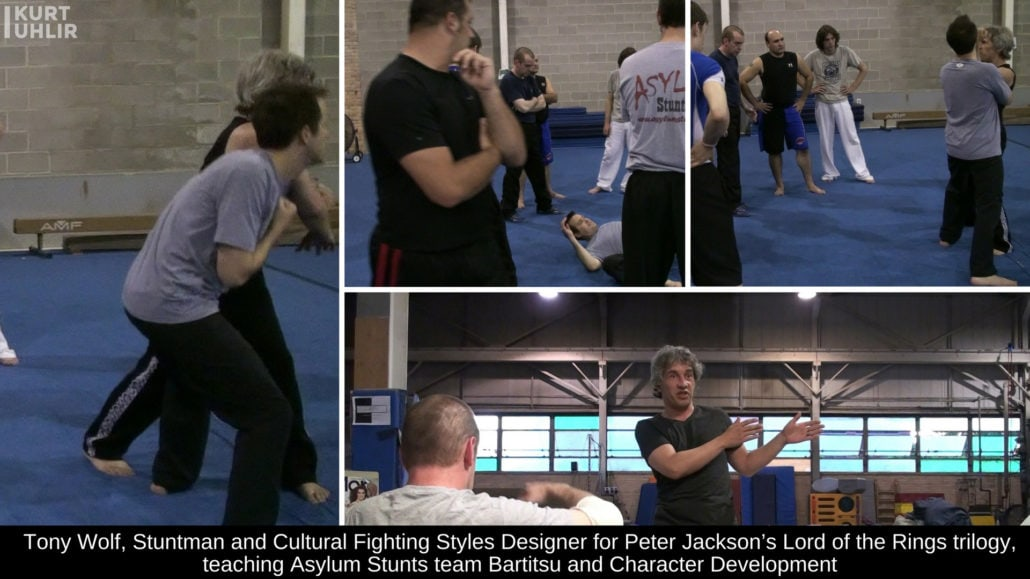 Tony Wolf, Stuntman and Cultural Fighting Styles Designer for Peter Jackson's Lord of the Rings trilogy, teaching Asylum Stunts team Bartitsu and Character Development
