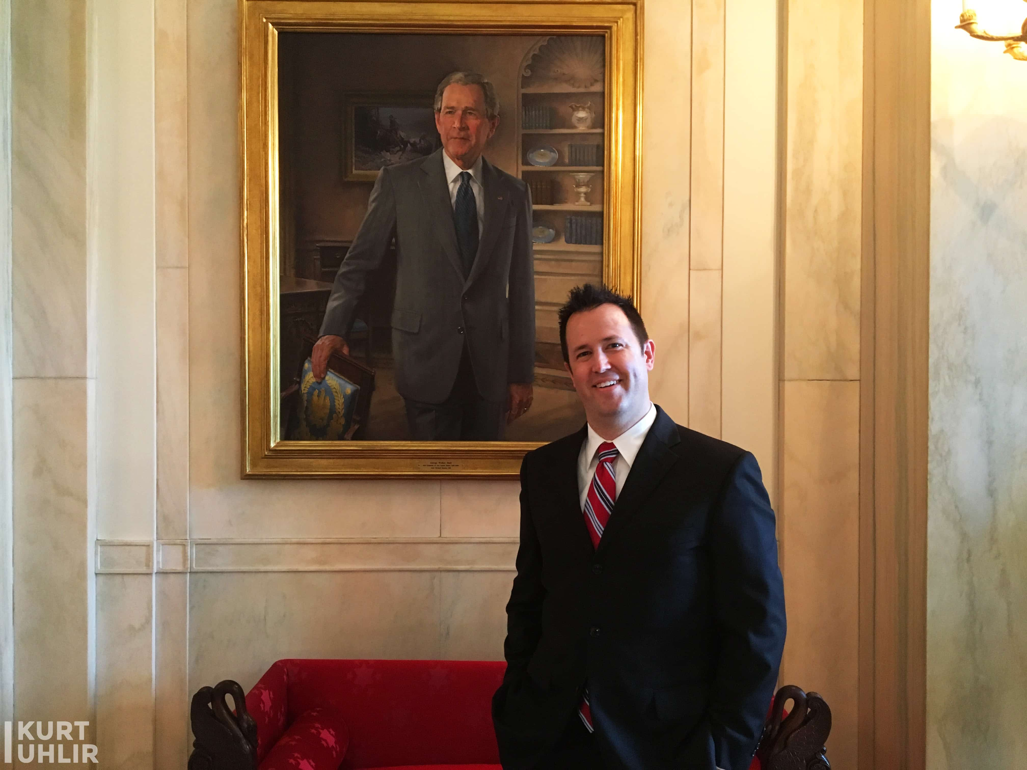 Kurt Uhlir hanging with GW (well a painting of him) in Entrance Hall in the residence of The White House.
