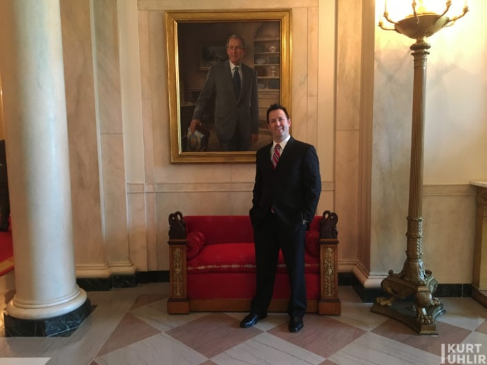 Hanging with GW (well a painting of him) in Entrance Hall in the residence of The White House