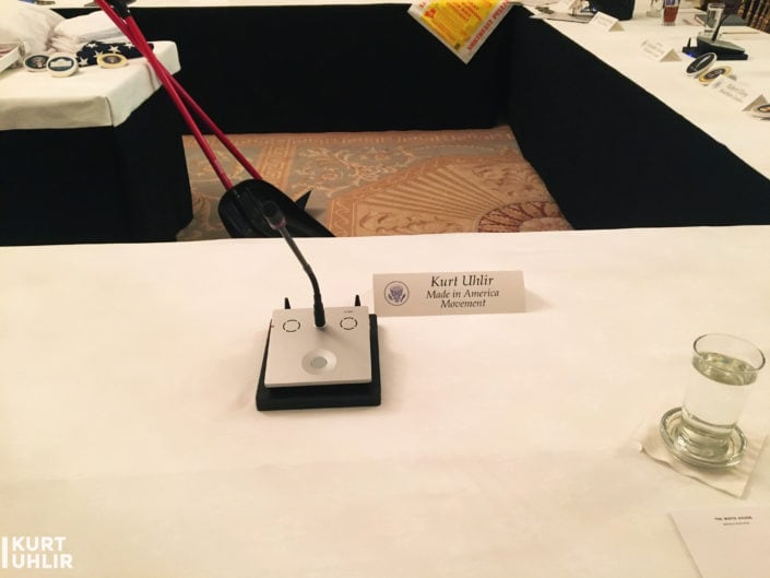 Kurt Uhlir's seat at 1st Made in America Roundtable at the White House