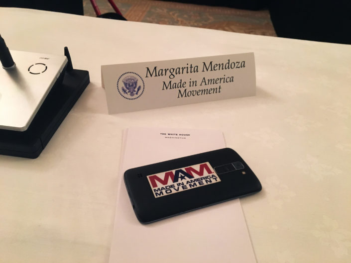Margarita Mendoza's seat at the 1st Made in America Roundtable