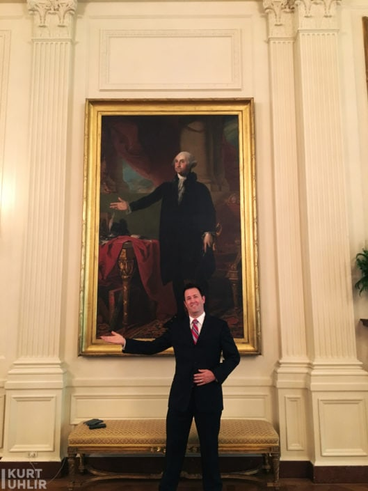 Having a little fun in the East Room at The White House. First Lady Dolley Madison saved this painting (the Lansdowne portrait) during the War of 1812. She is credited with running back into the burning building to save it.