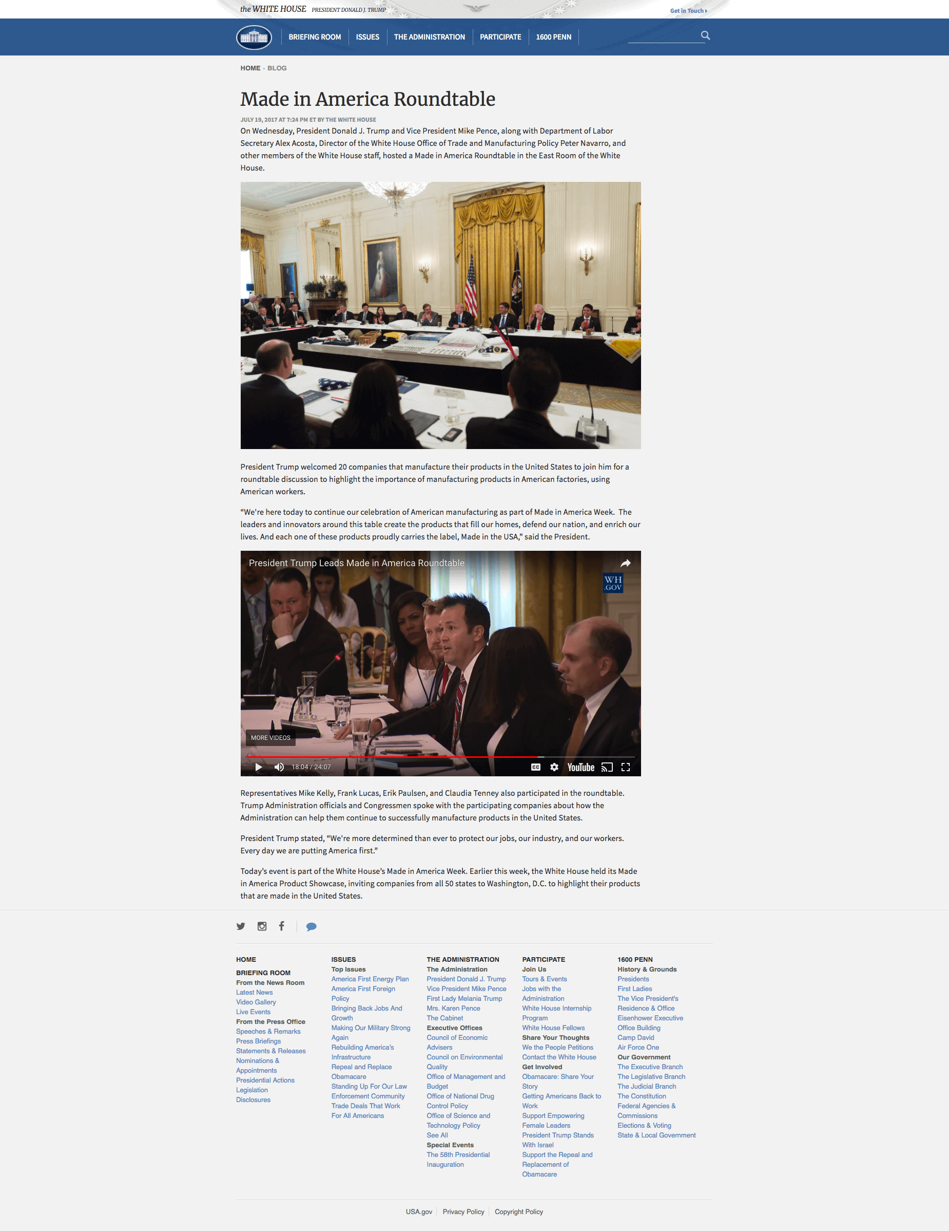 White House Article on Made in America Roundtable with Margarita Mendoza and Kurt Uhlir
